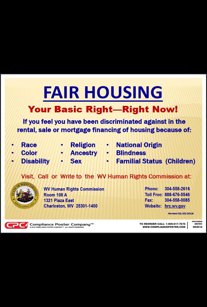 West Virginia Fair Housing Poster