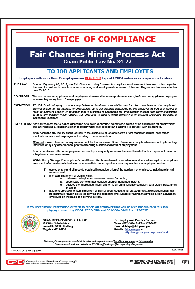 Guam Fair Chances Hiring Poster