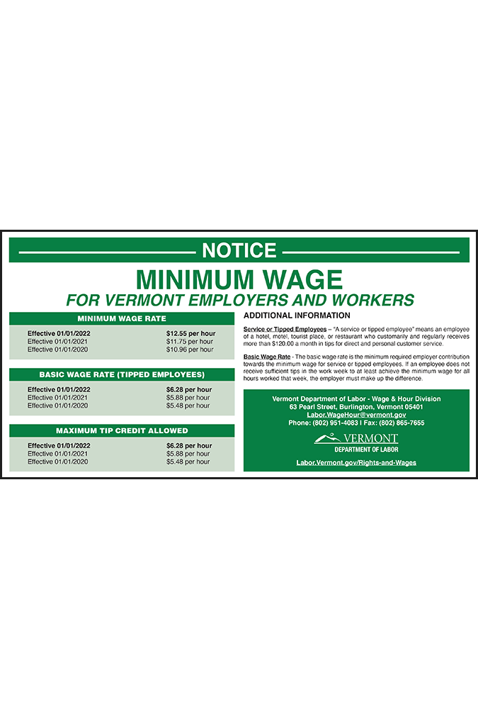 Vermont 2019 Minimum Wage Peel 'N Post
