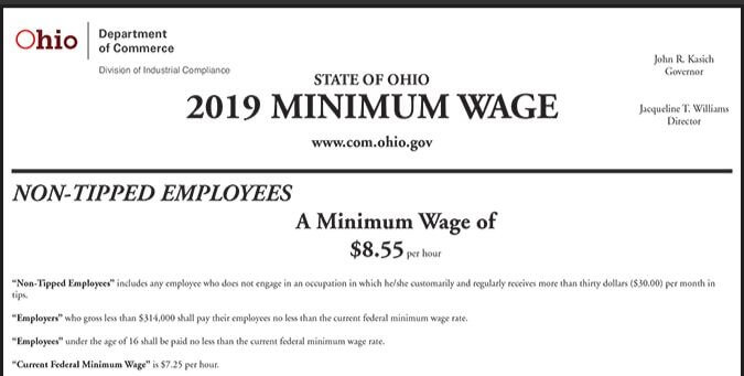 2019 Ohio Minimum Wage Notice Now Available!