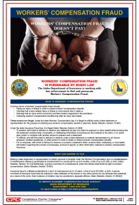 Idaho Workers' Compensation Fraud Poster