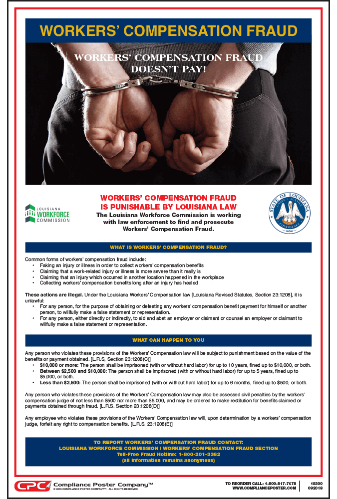 Louisiana Workers' Compensation Fraud Poster