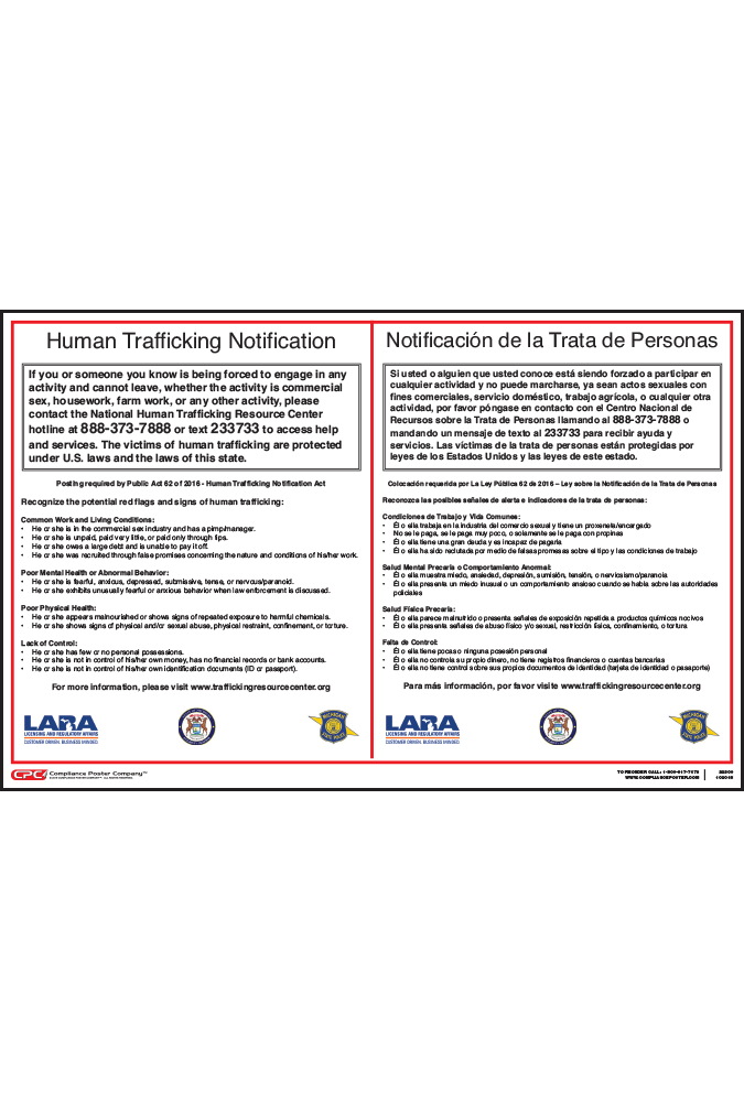 Michigan Human Trafficking Poster