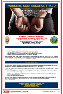 North Carolina Workers' Compensation Fraud Poster