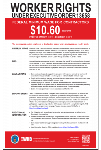 2019 Federal Contractor Minimum Wage