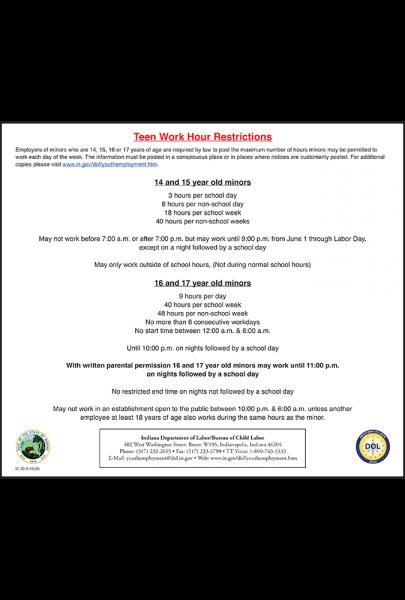 2019 Indiana Teen Work Hour Restrictions Peel 'N Post