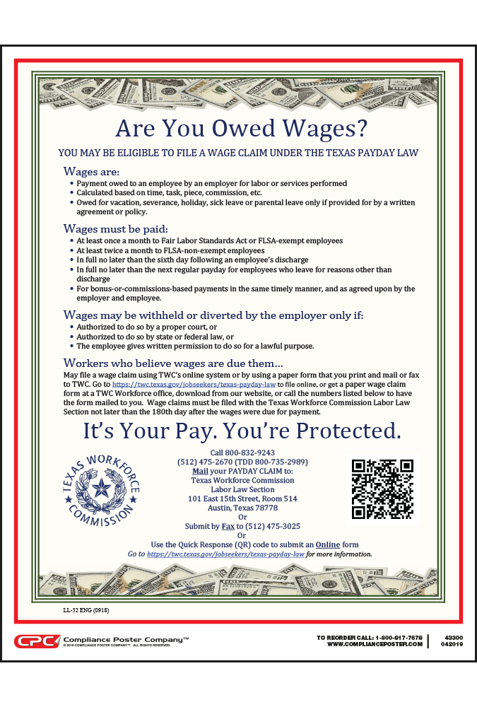 Texas Wage Claim Poster