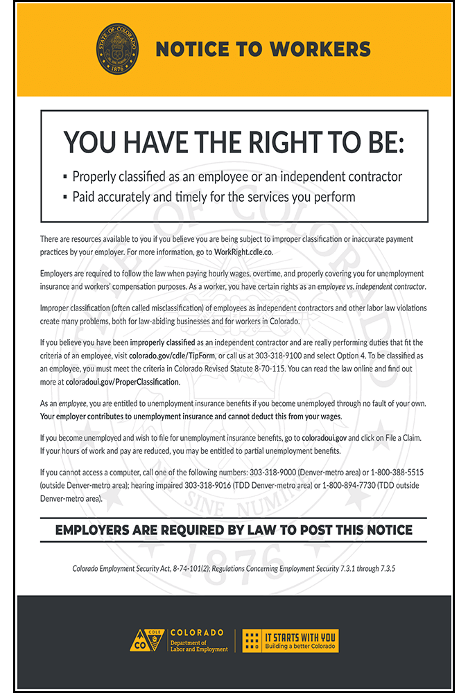 2019 Colorado Unemployment Notice - Peel 'N Post for English Poster