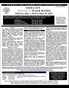 2019 Oregon Minimum Wage Rates Poster