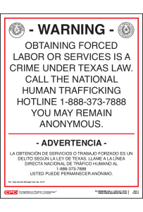 Texas Human Trafficking Poster