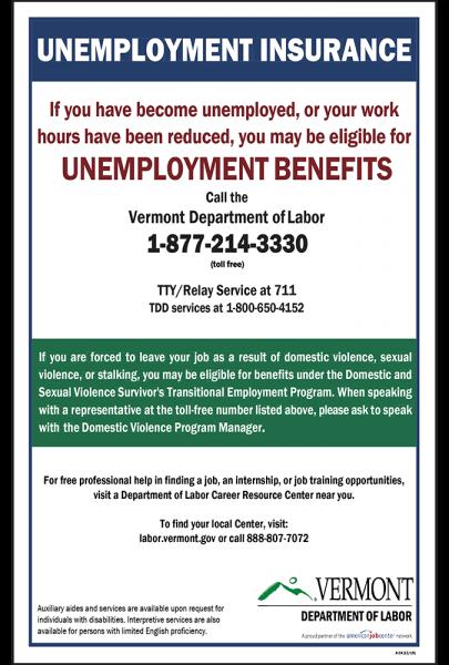 2020 Vermont Unemployment Insurance Peel 'N Post