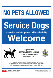 Maine Service Dogs Welcome Poster