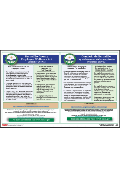 Bernalillo County NM Employee Wellness Act Poster