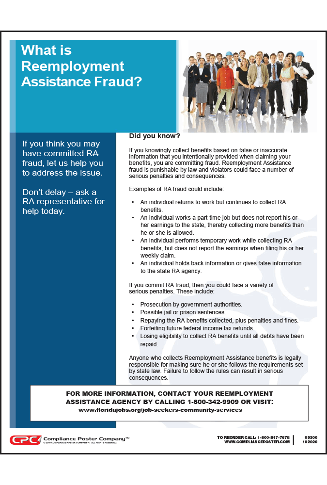 Florida Reemployment Assistance Fraud Poster 9 95 Shipping