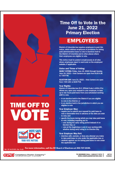 District of Columbia Time Off to Vote Notice