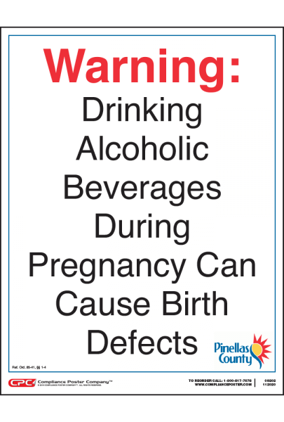 Pinellas County Alcohol Health Warning Poster