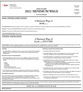 Ohio 2021 Minimum Wage Peel 'N Post